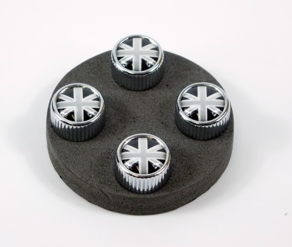 4 Ventilkappen Modell Chicago Motiv: UK schwarzweiß