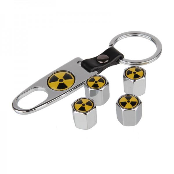 Ventilkappen Set Radioaktiv Chrom inkl. Schlüsselanhänger