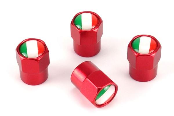Ventilkappen Italien / 4 Stück in Rot / Modell: Pittsburg