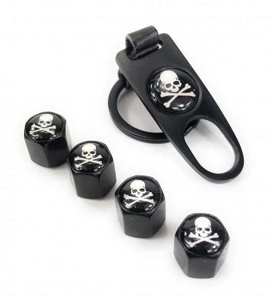 Ventilkappen Set Skull Bones Schwarz inkl. Schlüsselanhänger