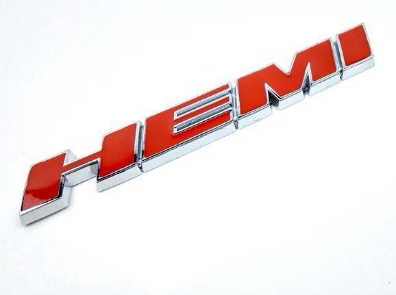 Metall Emblem Aufkleber HEMI Rot mit Chrom