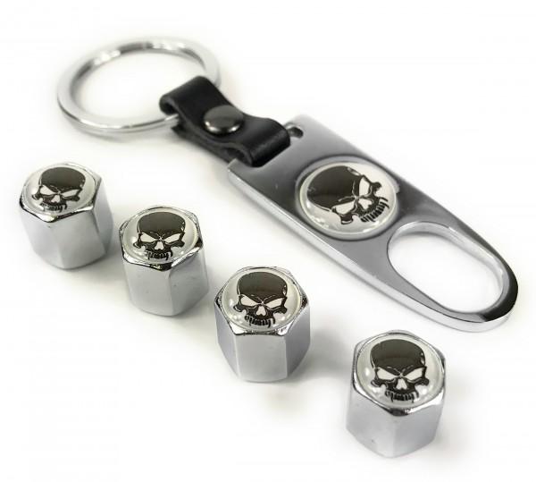 Ventilkappen Set Skull w Chrom inkl. Schlüsselanhänger