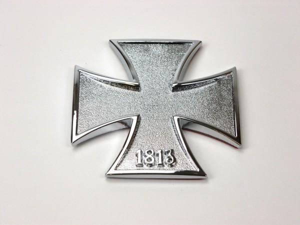 Metall Emblem Aufkleber IRON CROSS 1813 Silber