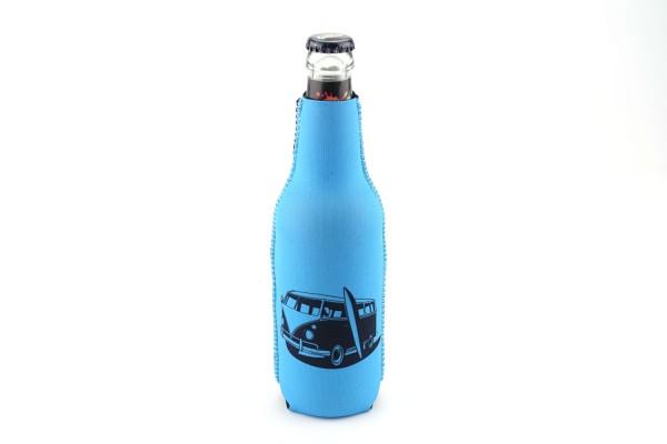 Neopren Flaschenkühler Bus California Blau