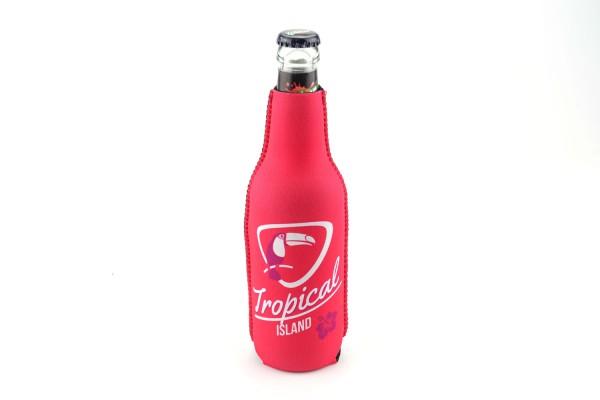 Neopren Flaschenkühler Tropical Island Pink