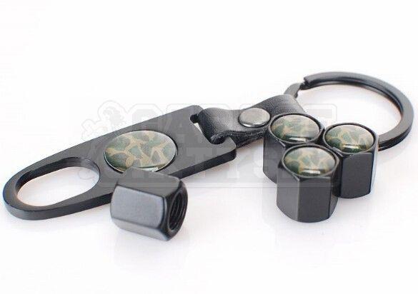Ventilkappen Set Camouflage Grün Schwarz inkl. Schlüsselanhänger