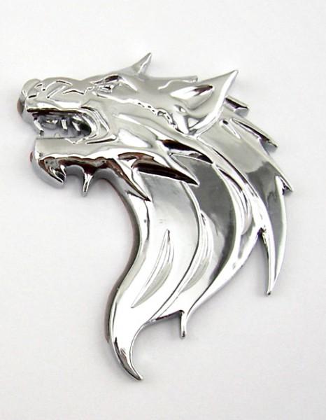 Wolfskopf Wolf Metall Emblem Aufkleber Chrom Links