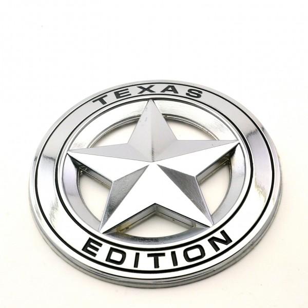 TEXAS EDITION STAR Chrom Metall Emblem Aufkleber (schwarz)