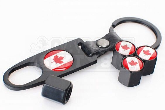 Ventilkappen Set Kanada Schwarz inkl. Schlüsselanhänger