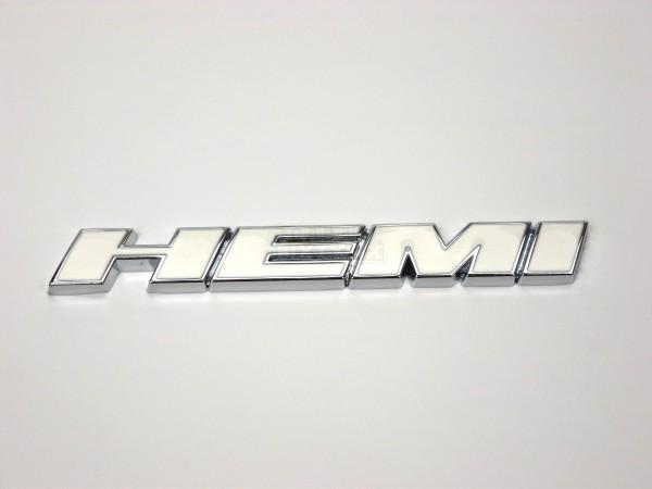 Metall Emblem Aufkleber HEMI Weiß mit Chrom