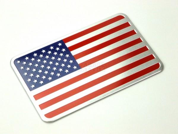 2er Set Metall Emblem Aufkleber USA Fahne