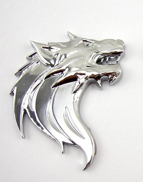 Wolfskopf Wolf Metall Emblem Aufkleber Chrom Rechts