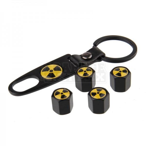 Ventilkappen Set Radioaktiv Schwarz inkl. Schlüsselanhänger